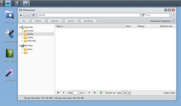Dette er et billede af Synology DS212j DSM filbrowser