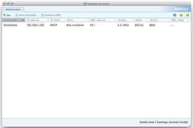 Dette er et billede af Synology DS212j Assistant som bruges til at installere NAS'en.