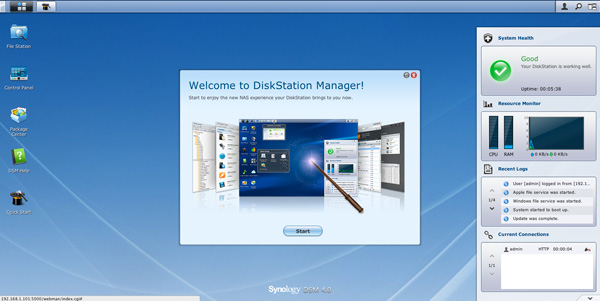 Screenshot af Synology DSM 4.0 dashboardet